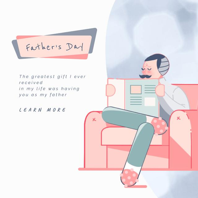 Ontwerpsjabloon van Animated Post van Father's Day with Father and kids reading newspaper