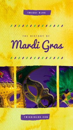 Ontwerpsjabloon van Instagram Story van Mardi Gras carnival masks