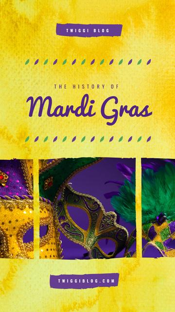 Mardi Gras carnival masks Instagram Story Modelo de Design