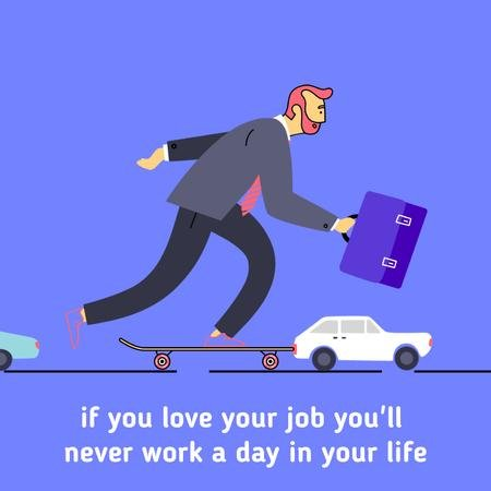 Template di design Businessman riding skateboard to work Animated Post