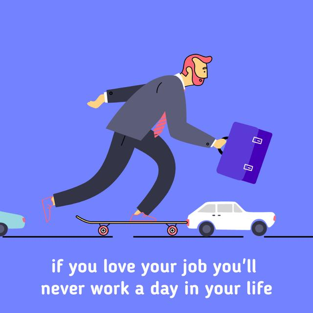Businessman riding skateboard to work Animated Post Design Template