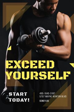 Gym Promotion Man Lifting Dumbbells | Tumblr Graphics Template