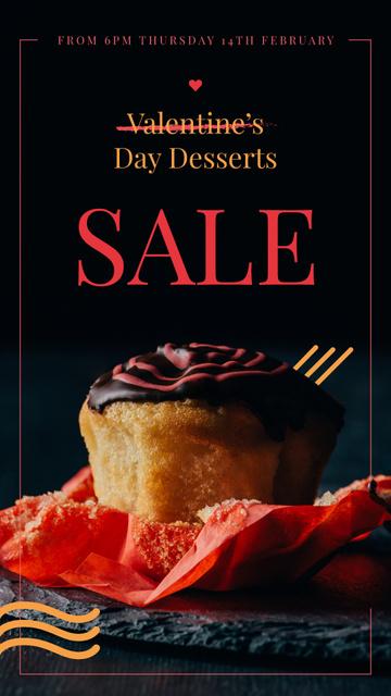 Plantilla de diseño de Special Valentine's Day Offer with Sweet chocolate cake Instagram Story