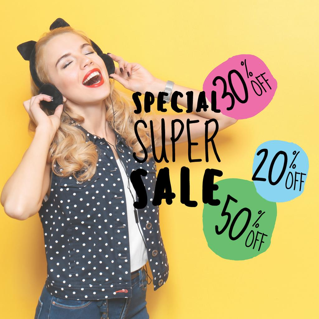 special super sale yellow banner with young woman in headphones — Crear un diseño