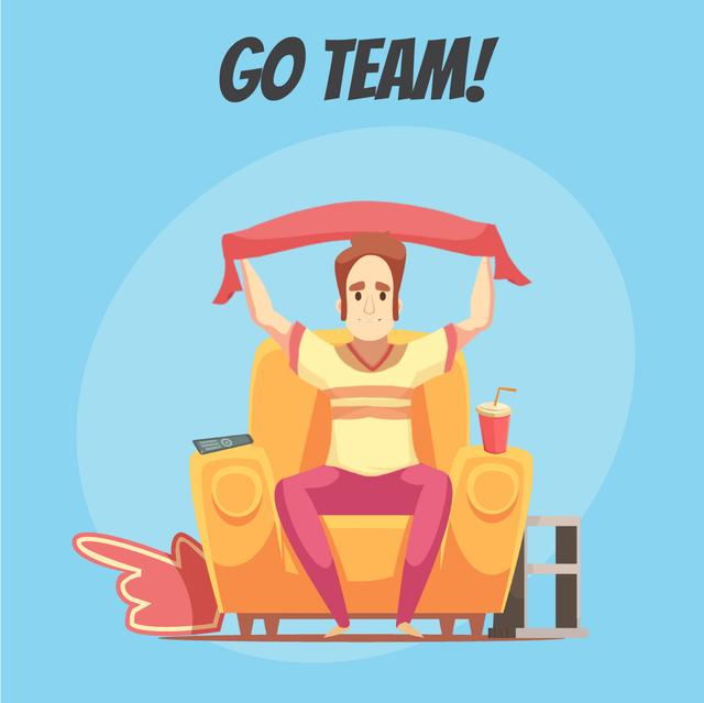 Plantilla de diseño de Excited fan watching sport event on tv Animated Post