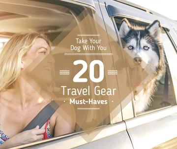 young woman with dog in car, travel with pet concept