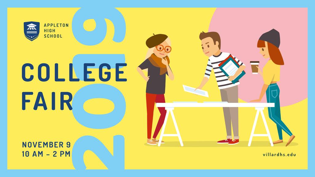 Ontwerpsjabloon van FB event cover van Students at College Fair