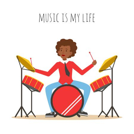 Plantilla de diseño de Musician playing drums Animated Post