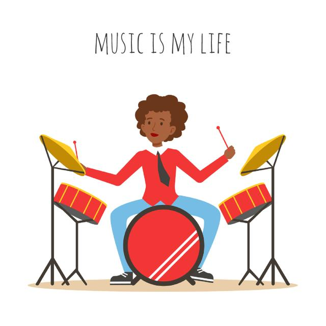 Musician playing drums Animated Post Modelo de Design