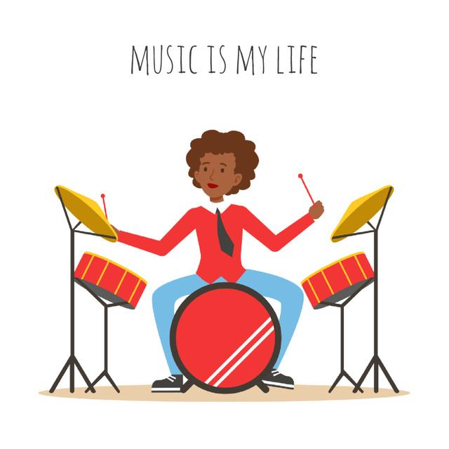 Plantilla de diseño de Musician playing drums Animated Post