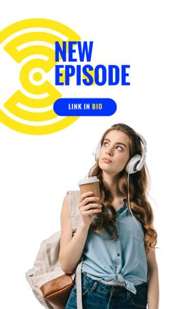 Template di design Education Podcast Ad Woman in Headphones Instagram Story