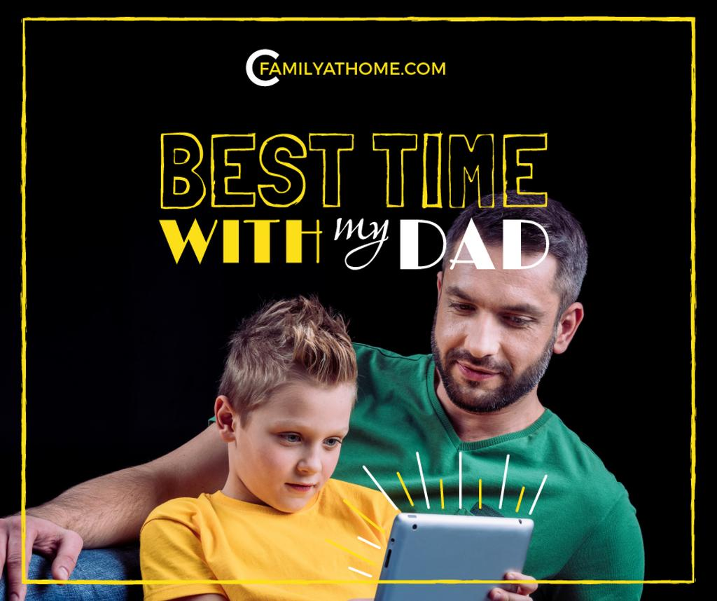 Parenting Tips Father with Son Using Tablet — Crea un design