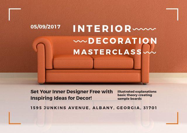 Interior Decoration Event Announcement with Sofa in Red Card Modelo de Design