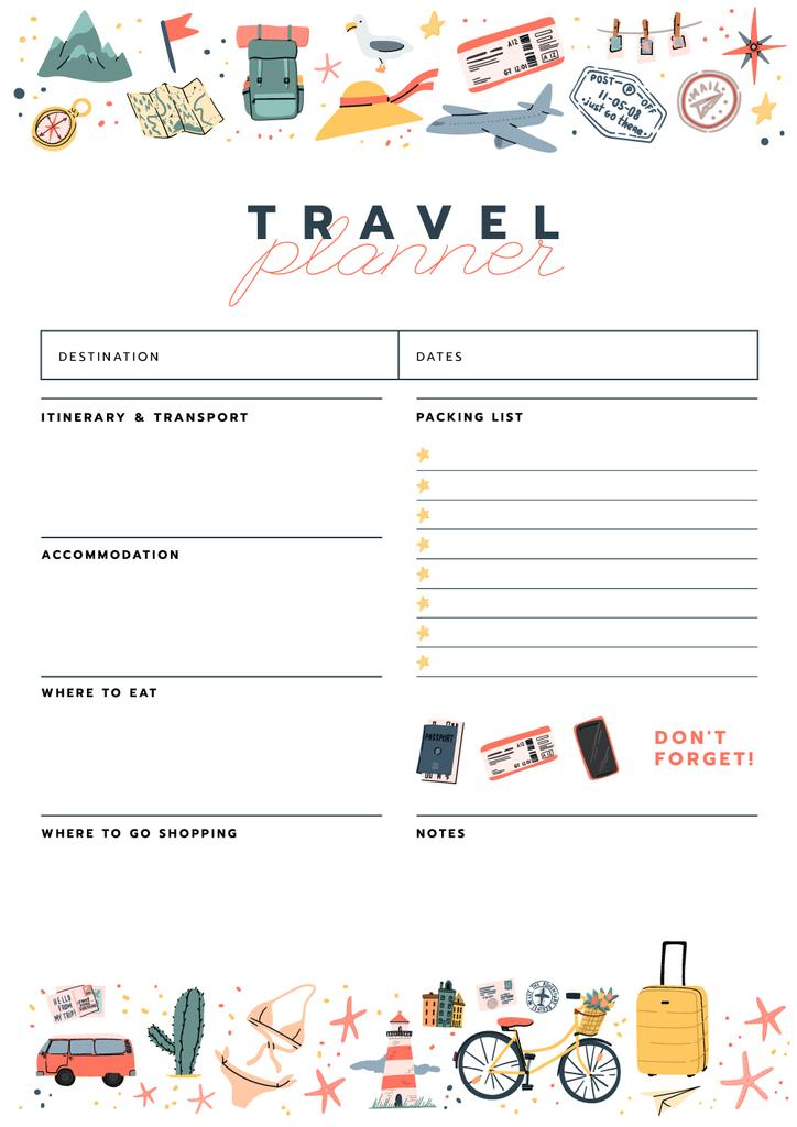 Travel Planner with Travelling icons — Crear un diseño