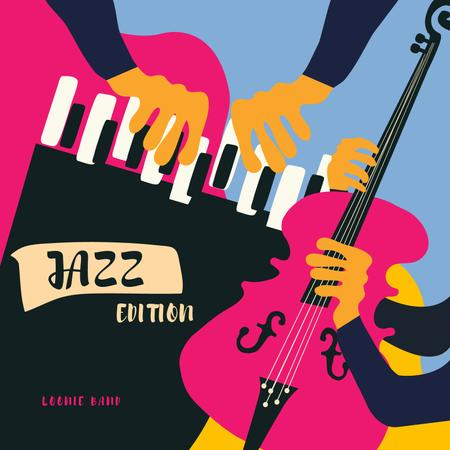 Ontwerpsjabloon van Album Cover van Musicians playing Jazz
