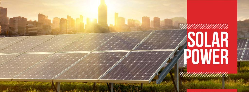 Energy Supply with Solar Panels in Rows Facebook coverデザインテンプレート