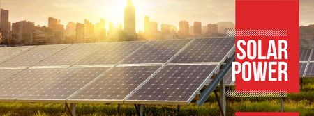 Modèle de visuel Energy Supply with Solar Panels in Rows - Facebook cover