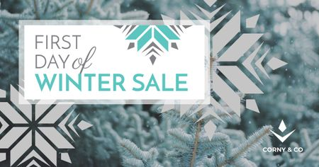 First day of winter Sale Facebook ADデザインテンプレート