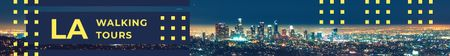 Ontwerpsjabloon van Leaderboard van Los Angeles City at Night