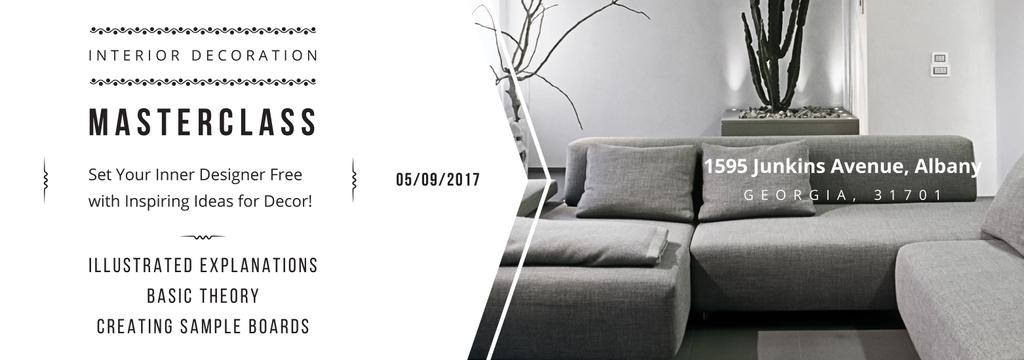 Interior Decoration Event Announcement Sofa in Grey | Tumblr Banner Template — Crear un diseño