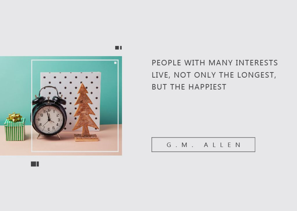 Inspirational Quote about Interests with alarm clock — Créer un visuel