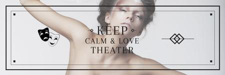 Theater Quote Woman Performing in White Twitterデザインテンプレート