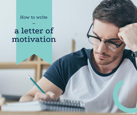 Student writing Letter of motivation Facebookデザインテンプレート