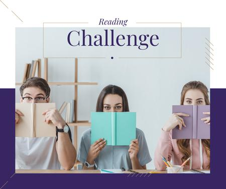 Reading Inspiration Students with Books Facebook Design Template