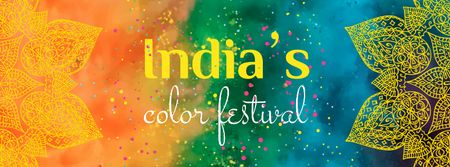 Indian Holi festival celebration Facebook cover – шаблон для дизайну