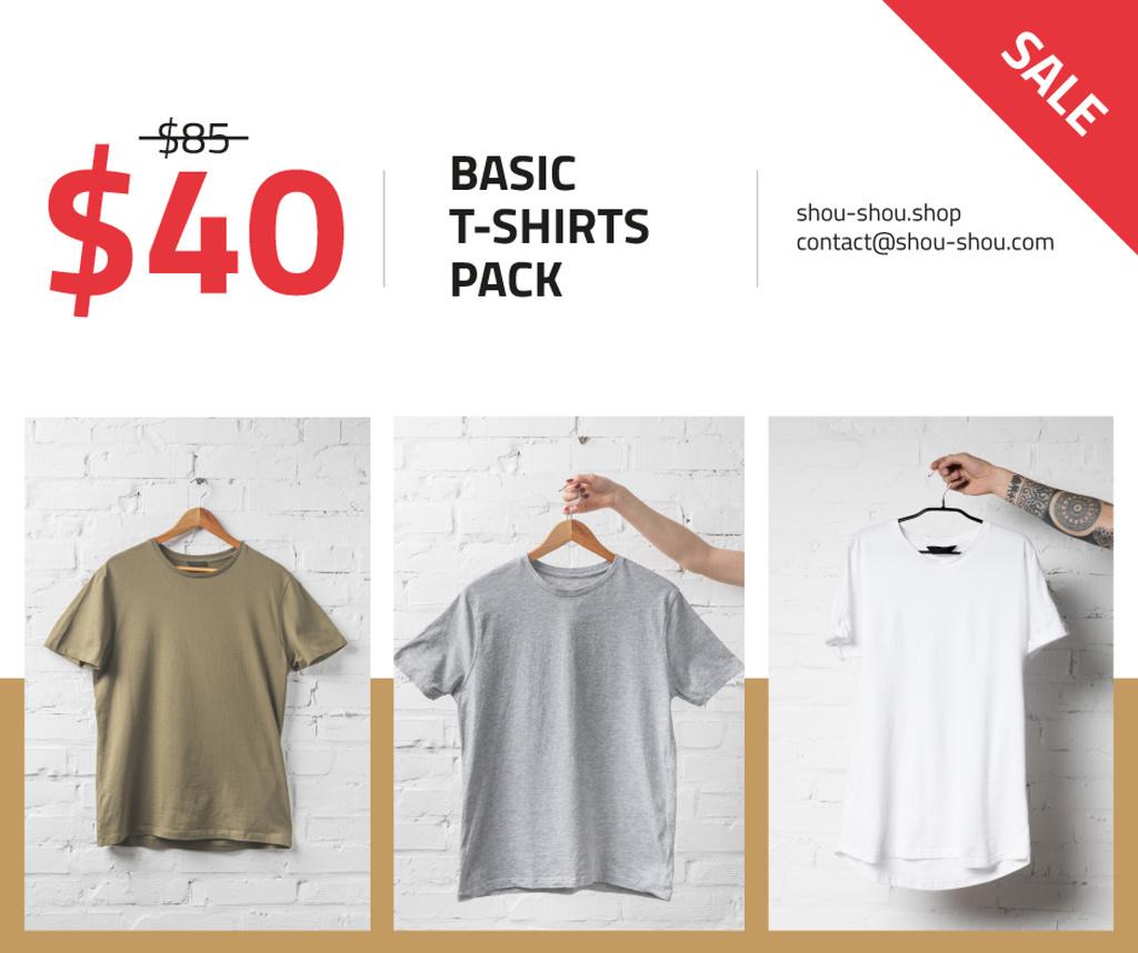 Clothes Store Sale Basic T-shirts Facebook Modelo de Design