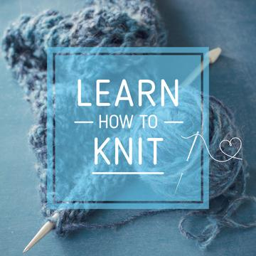 Knitting Workshop Ad with Needle and Yarn in Blue