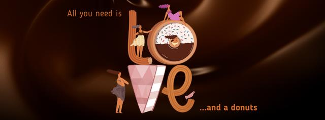 Girls in love with sweet Donuts Facebook Video cover Design Template