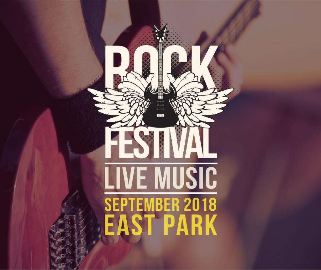 Rock Festival Invitation Guitar Icon — Crear un diseño