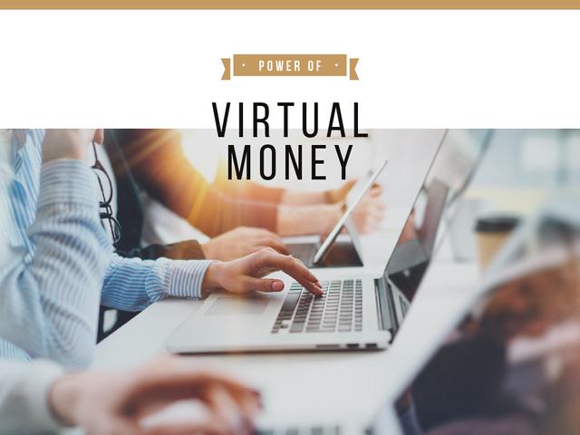 Virtual Money Concept with People Typing on Laptops Presentation – шаблон для дизайна