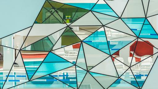 Stained Glass Collage With Swimming Pool