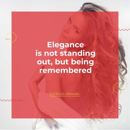 Citation about Elegance with Young Woman Instagram Design Template