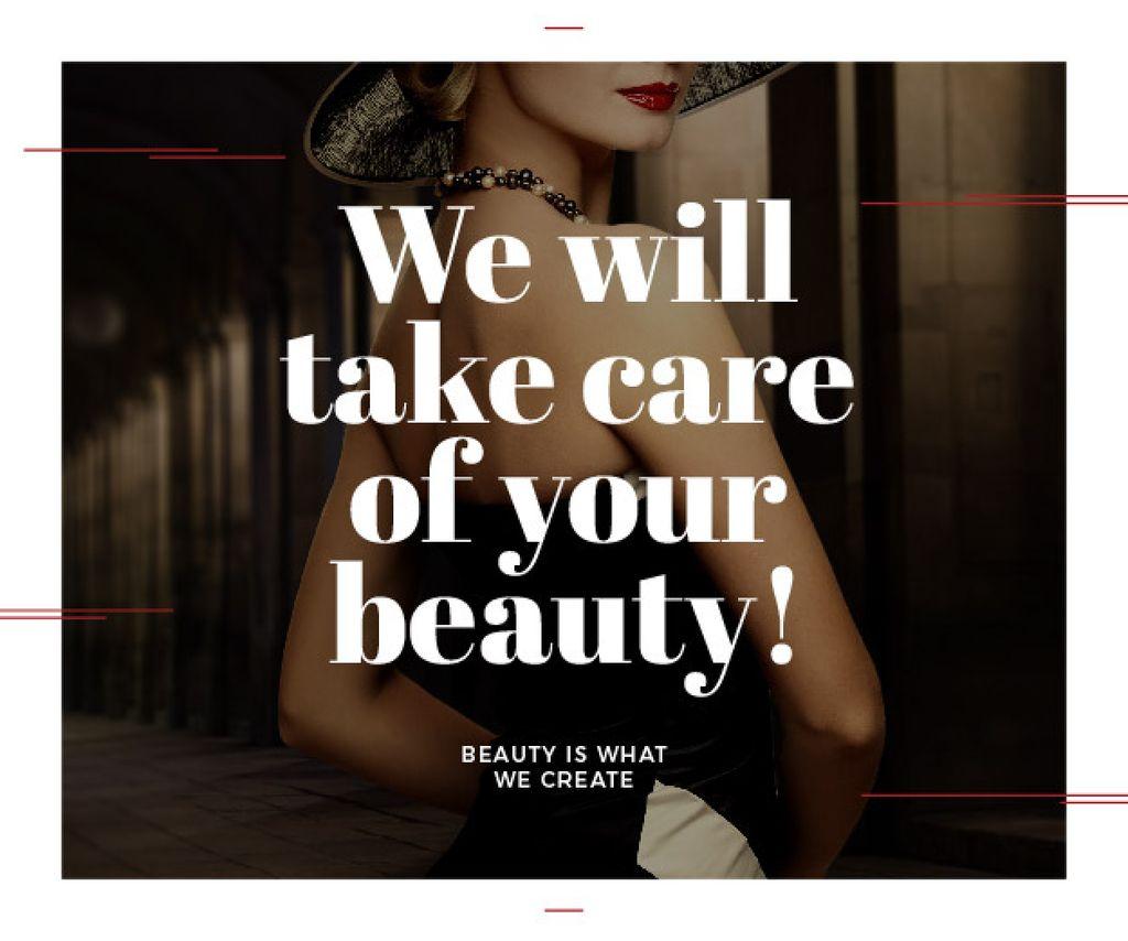 Modèle de visuel Citation about care of beauty  - Medium Rectangle