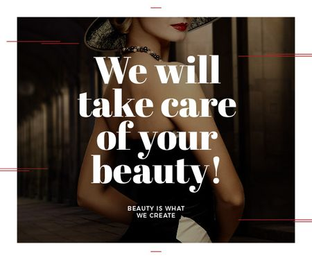 Modèle de visuel Citation about care of beauty  - Medium Rectangle