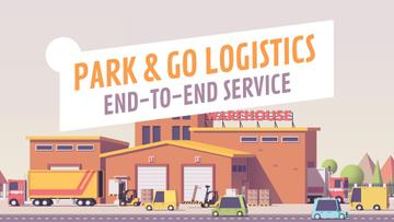 Logistics Business Cars Driving by Warehouse