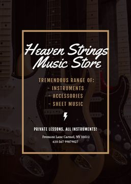 Music Store Ad Guitars in Row