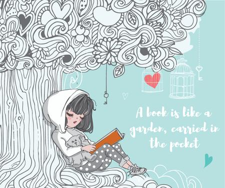Plantilla de diseño de Little girl reading book Facebook