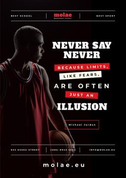 Sports Quote Basketball Player with Ball | Poster Template