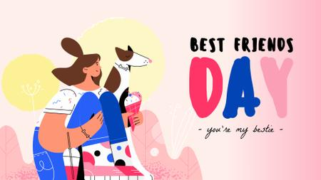 Best Friends Day Girl and Dog Eating Ice-Cream Full HD video Design Template