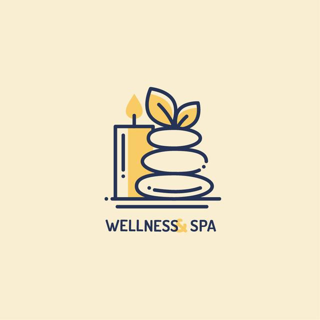 Template di design Spa Ad with Zen Stones and Candle Logo