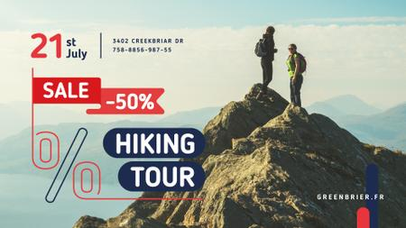 Hiking Tour Sale with Backpackers in Mountains FB event cover Design Template