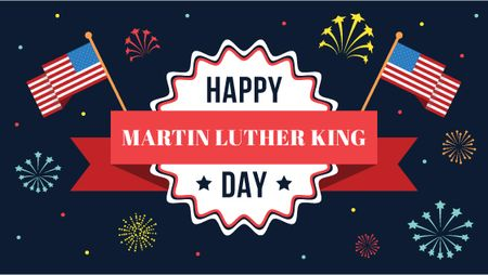 Plantilla de diseño de Martin Luther King Day Greeting with Flag Title