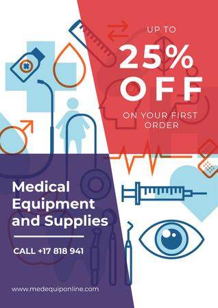Plantilla de diseño de Medical Equipment Sale with Healthcare Icons Poster