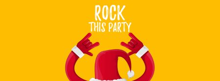 Plantilla de diseño de Santa showing rock sign Facebook Video cover