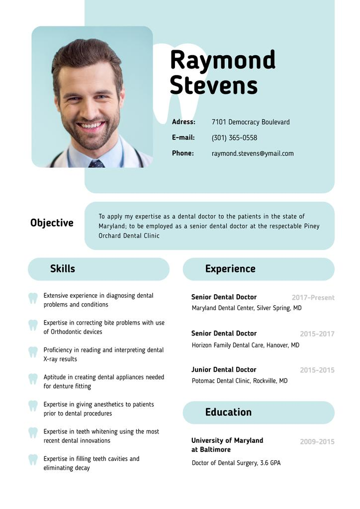 Dental Doctor skills and experience — Crea un design