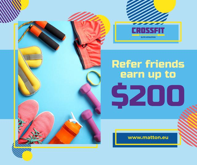 Fitness Ad with Sports Equipment in Blue Facebook Design Template